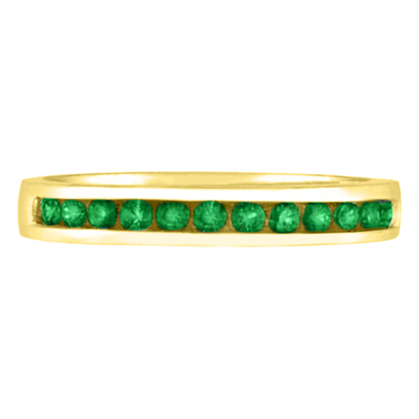 Channel-Set Emerald Band Stackable Ring 14k Yellow Gold (0.40ct)