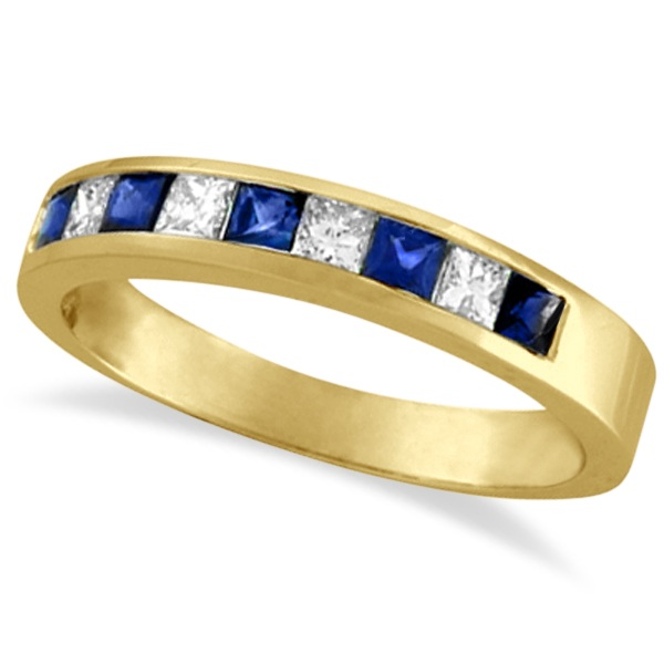 Allurez Princess-Cut Channel-Set Diamond and Sapphire Ring Band 14k Yellow Gold at Sears.com