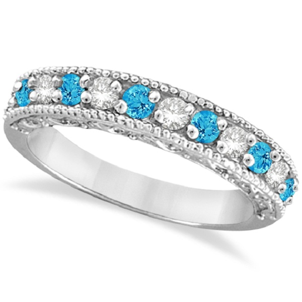Blue Topaz Diamond Band Filigree Ring Design 14k White Gold 060ct