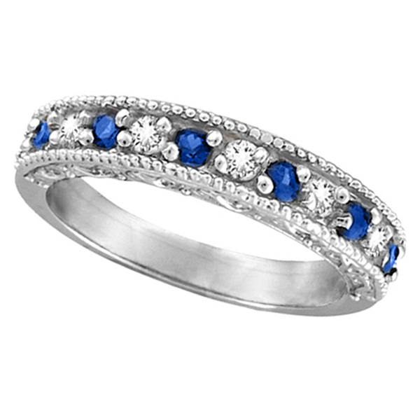 Designer Diamond and Blue Sapphire Ring Band 14k White Gold 0 59ct