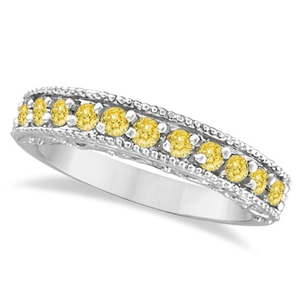 Fancy Yellow Canary Diamond Ring Band 14k White Gold 0 50ct