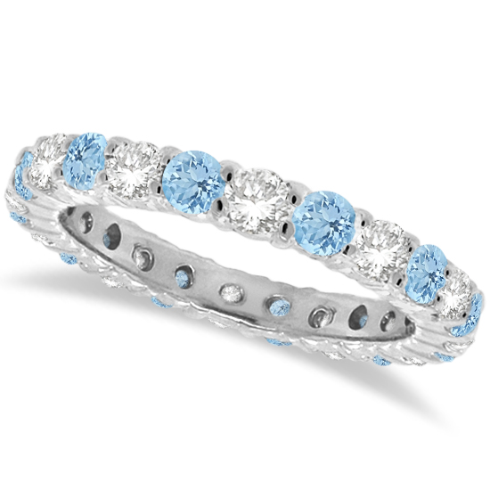 aquamarine thin band il listing full eternity ring half or gold rose bands