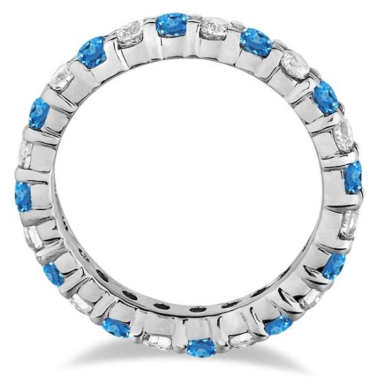 Blue Topaz & Diamond Eternity Ring Band 14k White Gold (1.07ct)