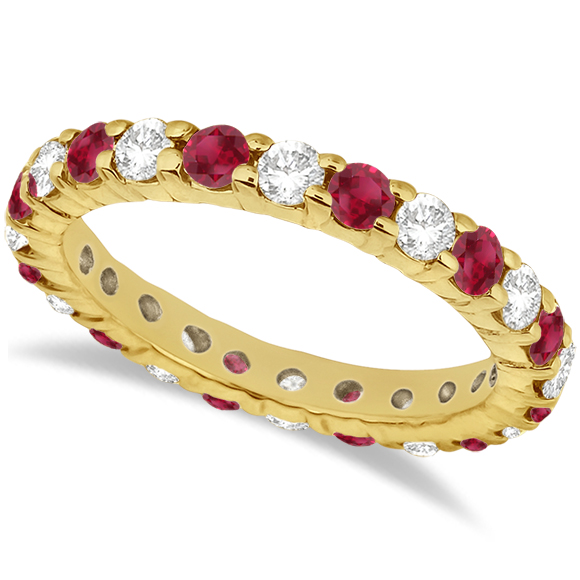 Allurez Eternity Diamond and Ruby Ring Band 14k Yellow Go...