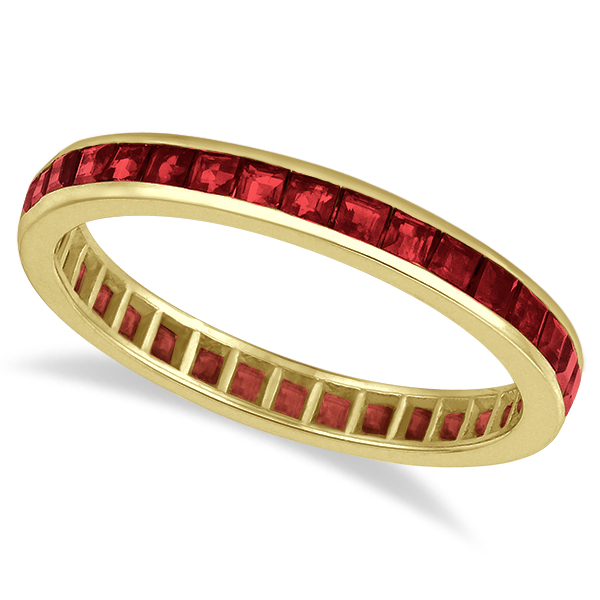 Allurez Princess-Cut Garnet Eternity Ring Band 14k Yellow...