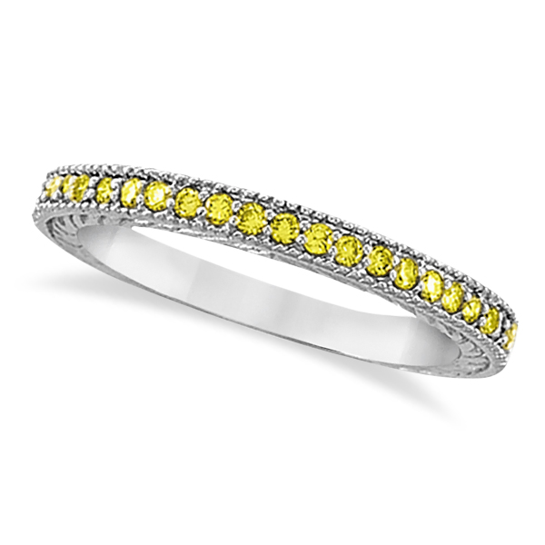Allurez Fancy Yellow Canary Diamond Stackable Ring Band 14Kt White Gold  (0.31ct) at Sears.com