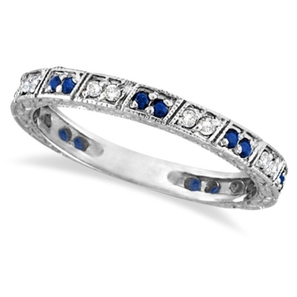 Allurez Blue Sapphire and Diamond Filigree Ring Anniveary Band 14k White Gold at Sears.com