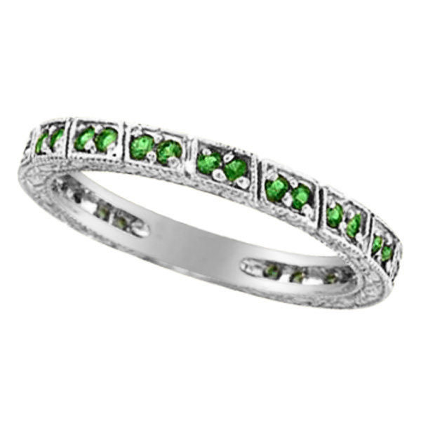 Emerald Stackable Ring Band 14k White Gold