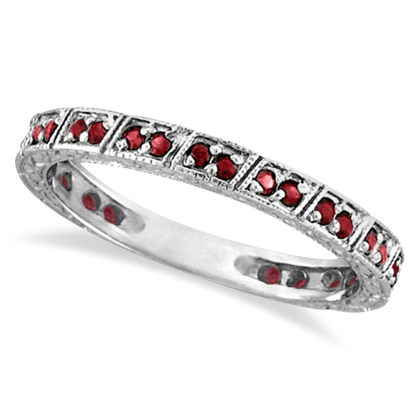 Allurez Ruby Stackable Ring Anniversary Band in 14k White...