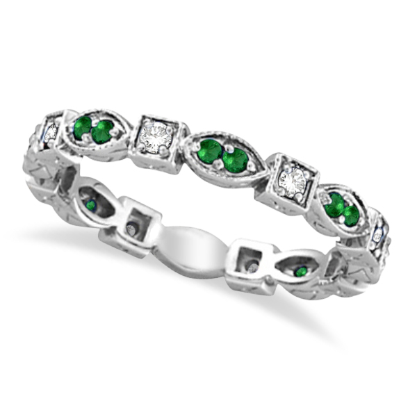 diamond vs bands emerald eternity band ring anniversary platinum