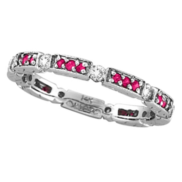 Allurez Eternity Diamond and Pink Sapphire Ring 14k White Gold by Morris and David at Sears.com