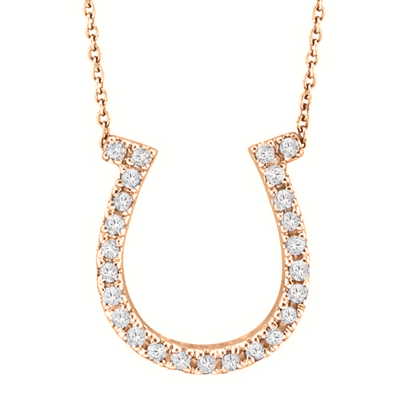 Allurez Diamond Horseshoe Pendant Necklace 14k Rose Gold ...
