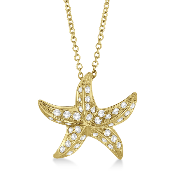 Starfish Shaped Diamond Pendant Necklace 14K Yellow Gold (0.50ct)