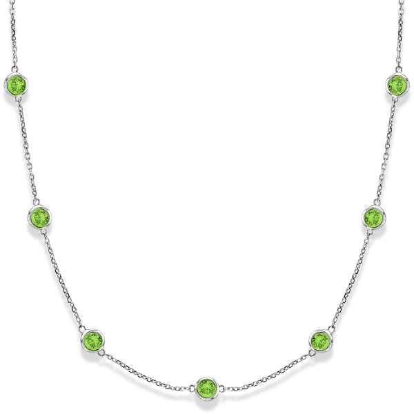 Peridots by The Yard Bezel Station Necklace in 14k White Gold 2.25ct
