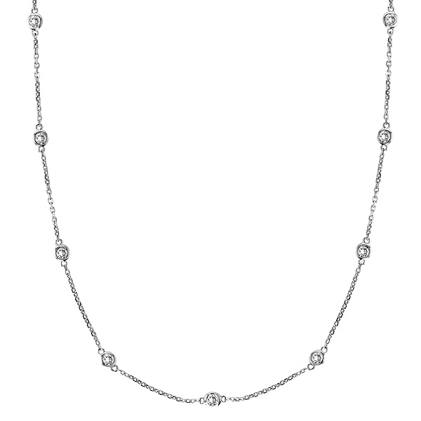 Diamond Station Necklace Bezel-Set in 14k White Gold (0.50 ctw) - IN37 f838304608bb