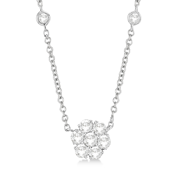 9330d5daac2e8a Flower Pendant Diamond Station Necklace 14k White Gold (1.00ct) - IN55