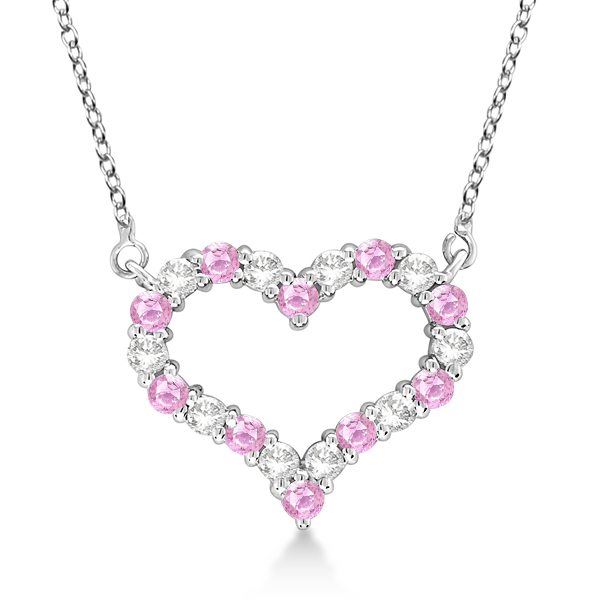 Open Heart Diamond Pink Shire Necklace 14k White Gold