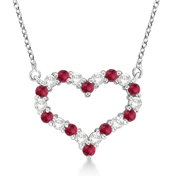 Open heart diamond ruby pendant necklace 14k white gold 130ct open heart diamond ruby pendant necklace 14k white gold aloadofball Gallery