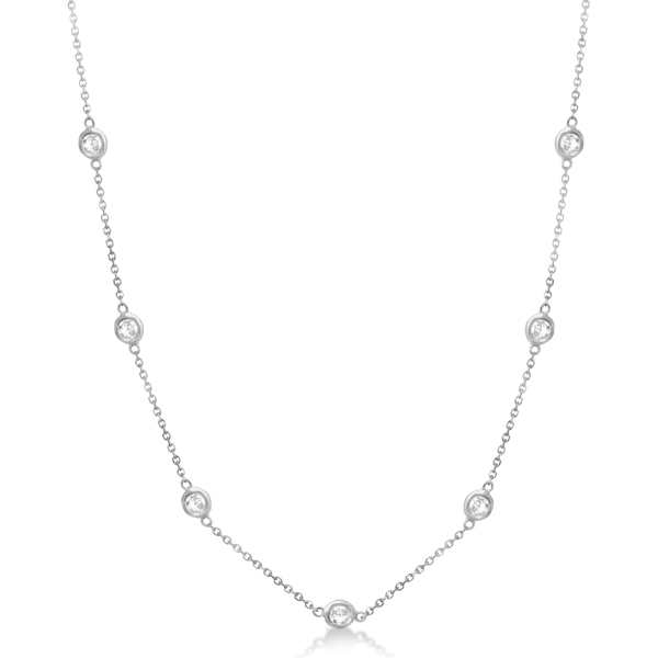 Allurez Diamond Station Necklace Bezel-Set 14K White Gold...