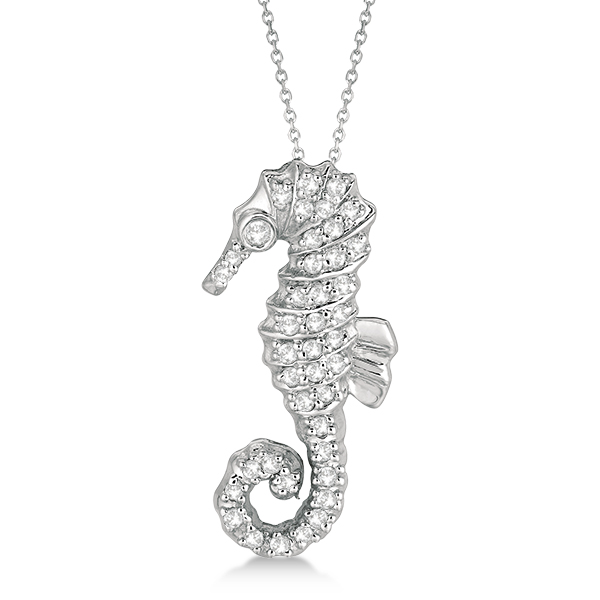 Diamond seahorse pendant necklace 14k white gold 029ct allurez diamond seahorse pendant necklace 14k white gold 029ct aloadofball Image collections