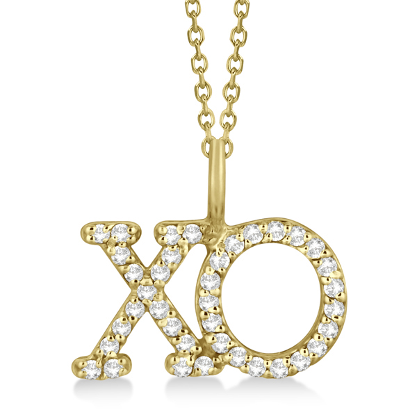 Allurez Diamond XO Pendant Necklace Hugs and Kisses 14K Yellow Gold (0.20ct) at Sears.com