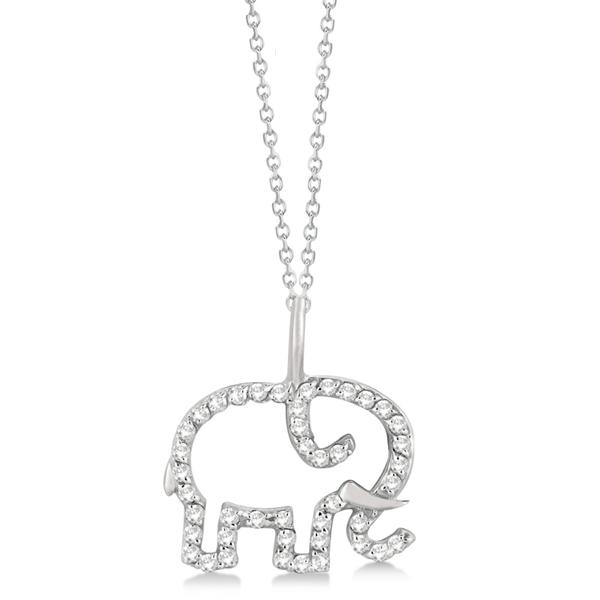 Elephant Diamond Pendant Necklace 14K White Gold (0.22ct)