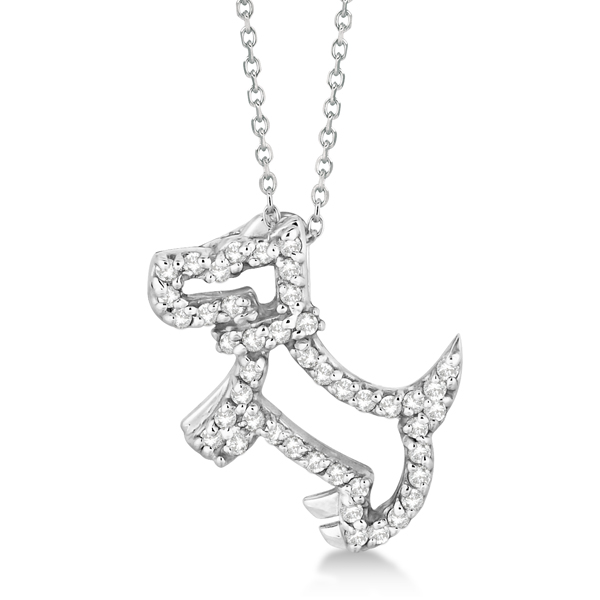 Allurez Diamond Dog Pendant Necklace Pave-Set 14K White G...