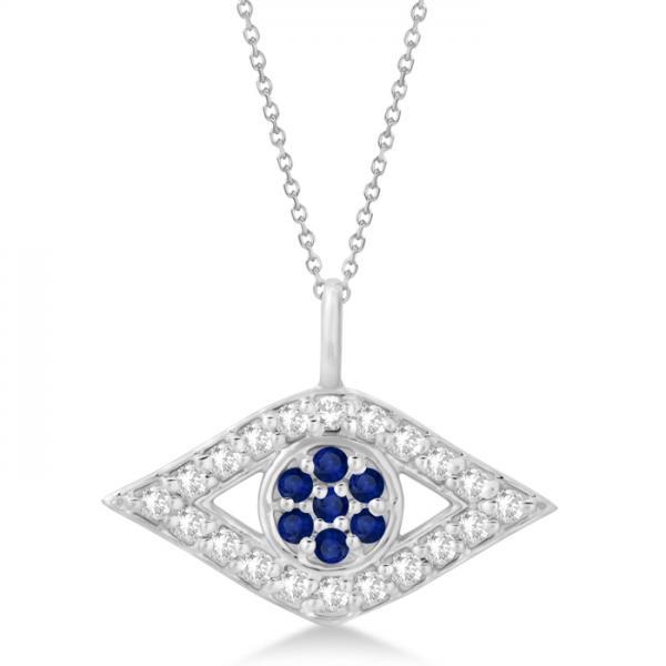 Evil Eye Diamond & Sapphire Pendant Necklace 14k White Gold (0.50ct)