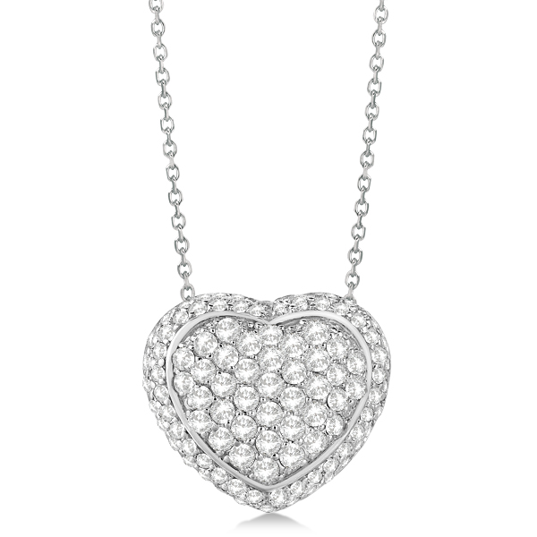 Diamond Puffed Heart Pendant Necklace 14k White Gold (2.51cts)