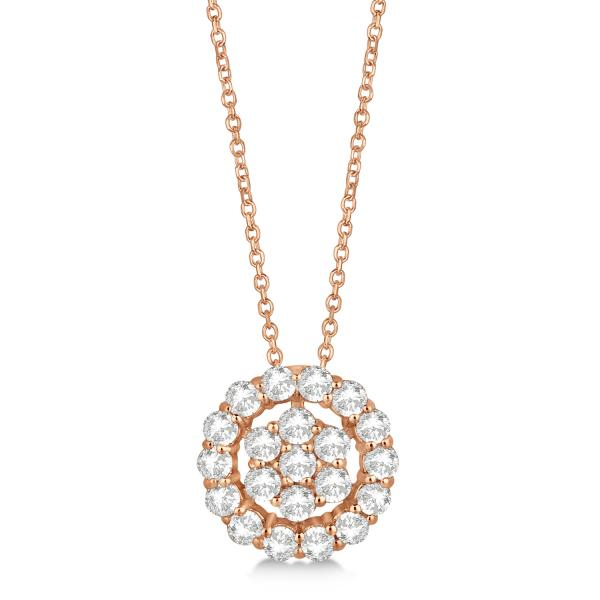 Diamond Halo and Cluster Pendant Necklace Pave Set 14k Rose Gold 0.33ct