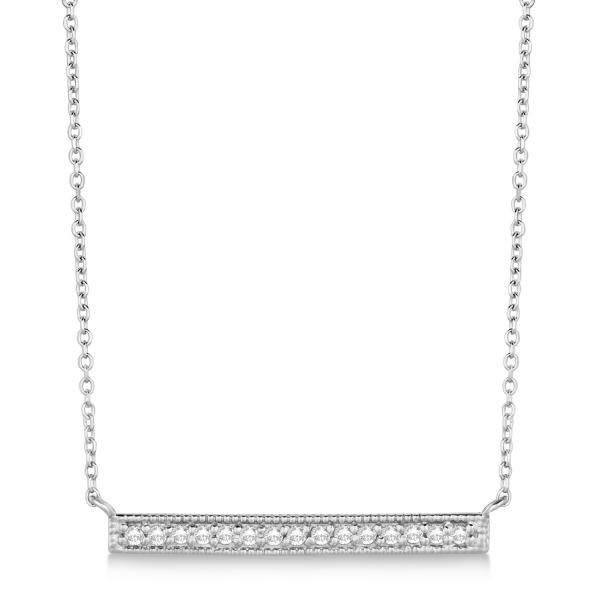 b32977a39388 Pave Set Horizontal Diamond Bar Necklace 14k White Gold 0.15ct - IN266
