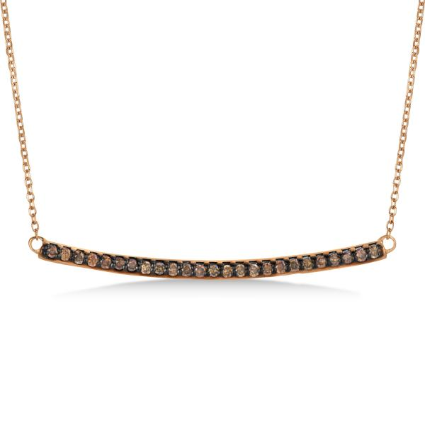 Thin Curved Round Champagne Diamond Bar Necklace 14k Rose Gold 0.25ct