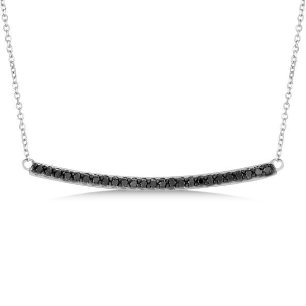 3f53de63a24a5 Thin Curved Black Diamond Bar Necklace In 14k White Gold 0.25ct