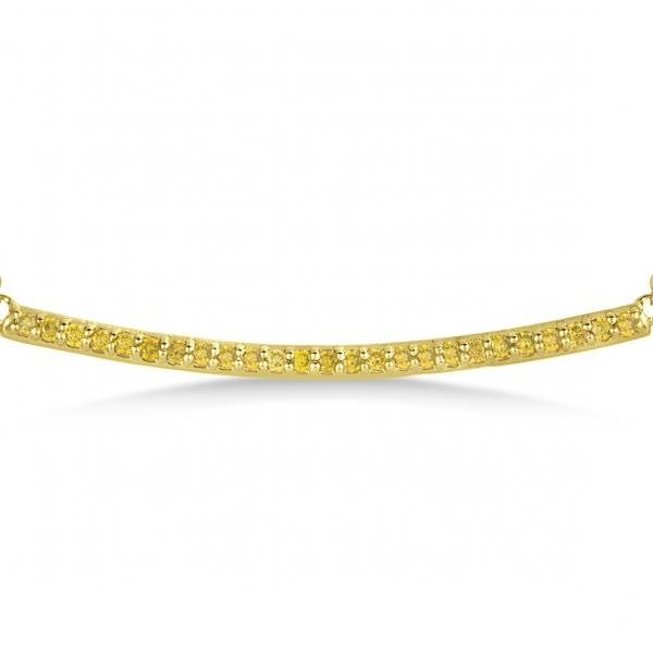 Thin Round Yellow Diamond Curved Bar Necklace 14k Yellow Gold 0.25ct
