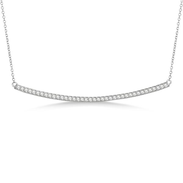 271ea7538be3e Pave Set Slightly Curved Round Diamond Bar Necklace 14k White Gold 0.40ct