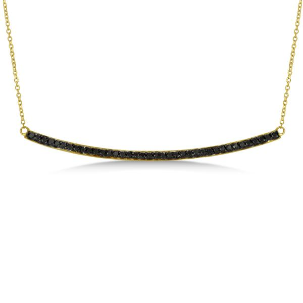 d445e8328de39 Thin Round Black Diamond Curved Bar Necklace 14k Yellow Gold 0.40ct