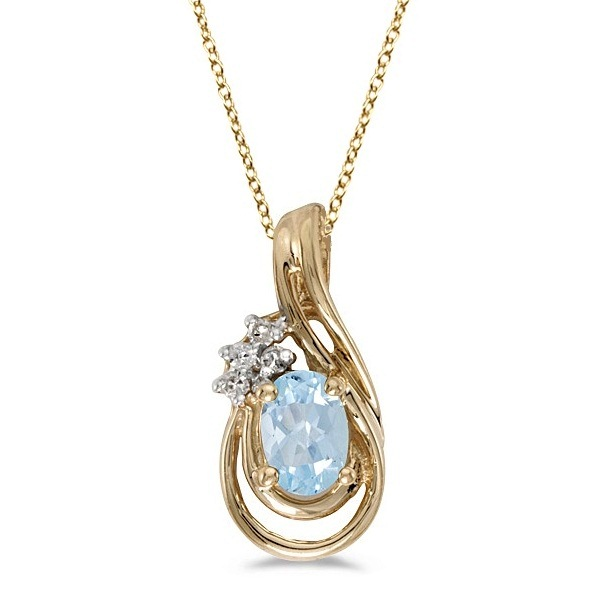 Oval Aquamarine and Diamond Teardrop Pendant Necklace 14k Yellow Gold