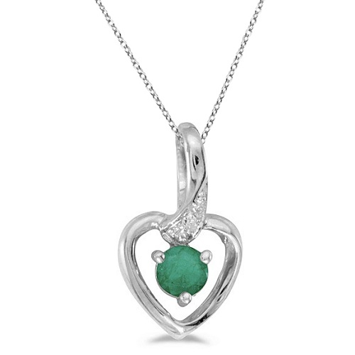 Allurez Emerald and Diamond Heart Pendant Necklace 14k Wh...
