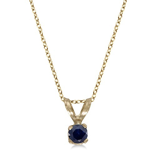 Round Blue Sapphire Solitaire Pendant Necklace 14K Yellow Gold (0.14ct)
