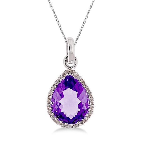 Allurez 14kt Yellow Gold Pear Amethyst & Diamond Pendant Necklace - 18 Inches ZXeWL9Q