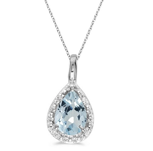 Allurez Pear Shaped Aquamarine Pendant Necklace 14k White...