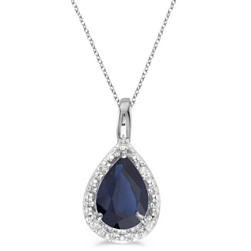 Pear shaped blue sapphire pendant necklace 14k white gold 085ct pear shaped blue sapphire pendant necklace 14k white gold 085ct aloadofball Choice Image