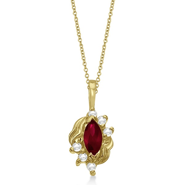 Marquise Ruby & Diamond Pendant Necklace in 14K Yellow Gold (0.34ct)