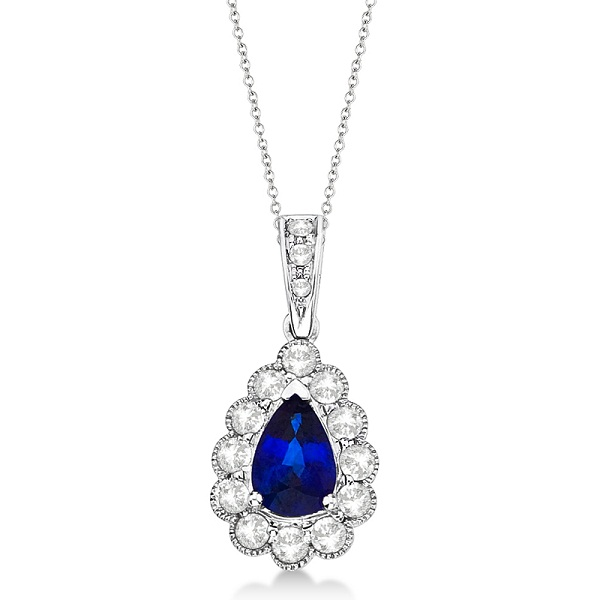 Pear Sapphire & Diamond Pendant Necklace in 14K White Gold (0.90ct)