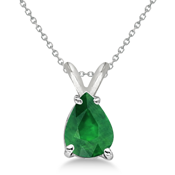 Allurez Pear Cut Emerald Solitaire Pendant Necklace 14K W...