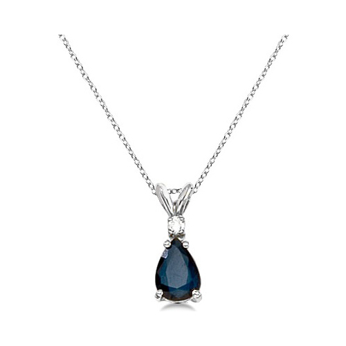 Pear blue sapphire diamond solitaire pendant necklace 14k white gold aloadofball Image collections
