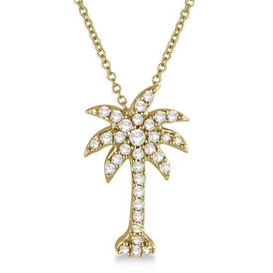 Palm tree shaped diamond pendant necklace 14k yellow gold 14ct palm tree shaped diamond pendant necklace 14k yellow gold 14ct aloadofball Images