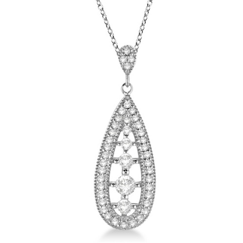 Allurez 14kt White Gold Diamond Vintage Pendant - 16 Inches