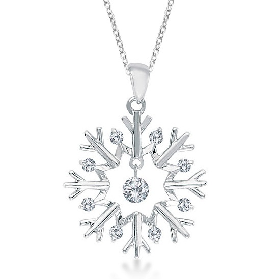 Allurez Snowflake Shaped Diamond Pendant Necklace 14k Whi...