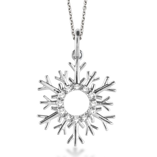 Allurez Snowflake Diamond Pendant Necklace 14k White Gold...